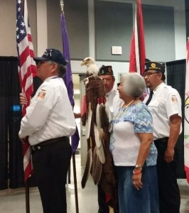 Iroquois Nation veterans lead the morning color guard.